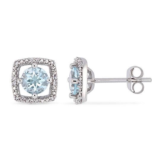 Diamond Accent Genuine Blue Aquamarine 10K White Gold 8.5mm Stud Earrings