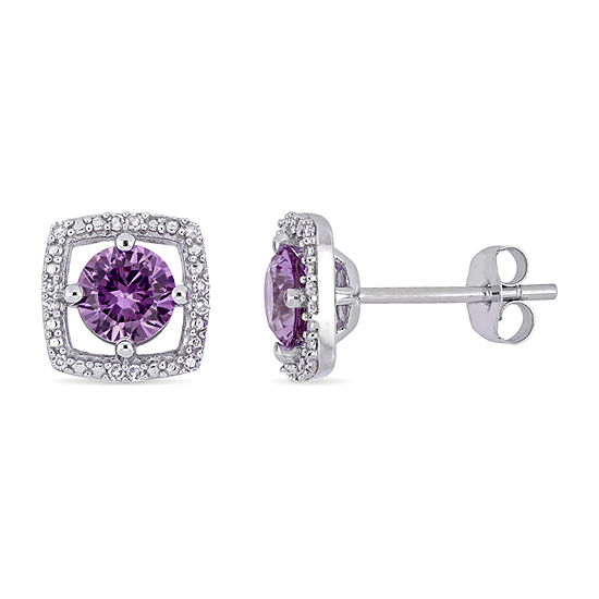 Diamond Accent Lab Created Purple Alexandrite 10K White Gold 8.5mm Stud Earrings