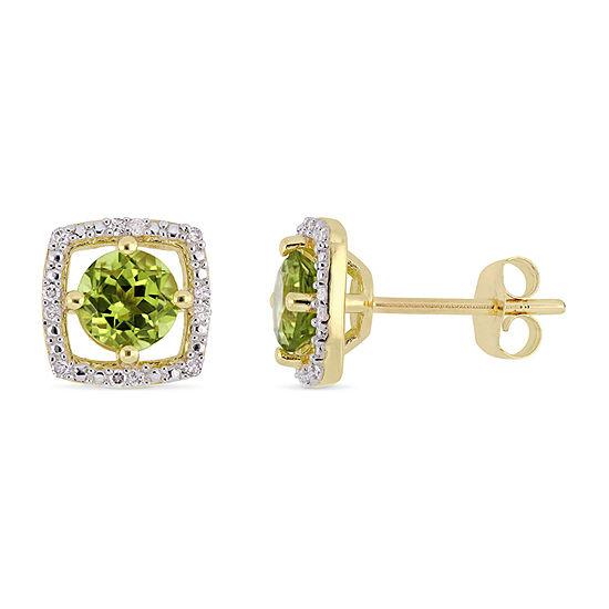 Diamond Accent Genuine Green Peridot 10K Gold 8.4mm Stud Earrings