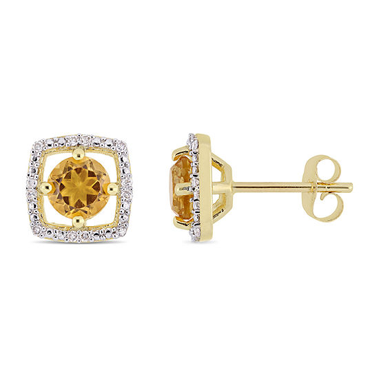 Diamond Accent Genuine Yellow Citrine 10K Gold 8.4mm Stud Earrings