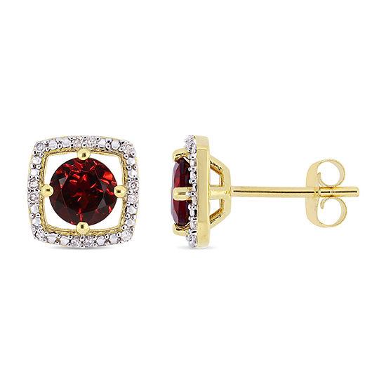 Diamond Accent Genuine Red Garnet 10K Gold 8.4mm Stud Earrings