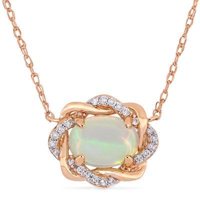 Womens 1/10 CT. T.W. Genuine Blue Opal 10K Rose Gold Pendant Necklace