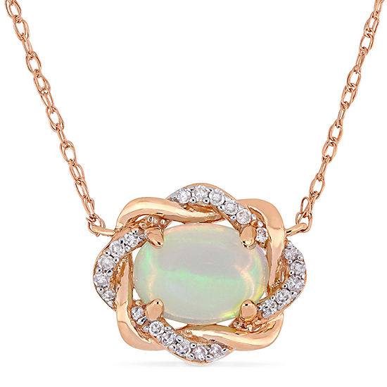 Womens 1 10 Ct Tw Genuine Blue Opal 10k Rose Gold Pendant Necklace