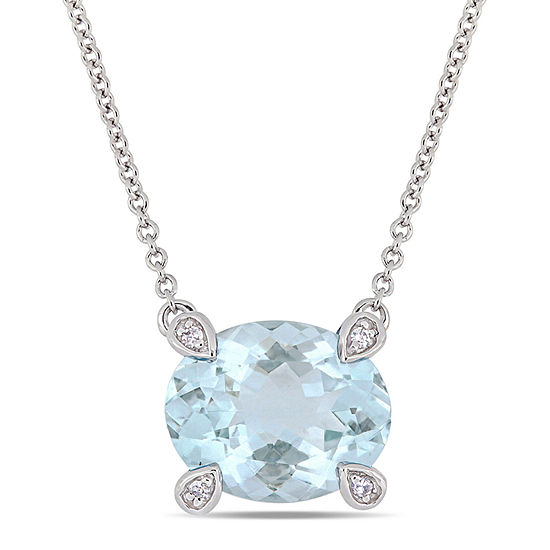 Womens Diamond Accent Genuine Blue Aquamarine 10K White Gold Pendant Necklace
