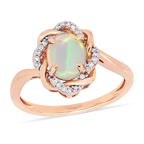 Womens 1/10 CT. T.W. Genuine Blue Opal 10K Rose Gold Cocktail Ring