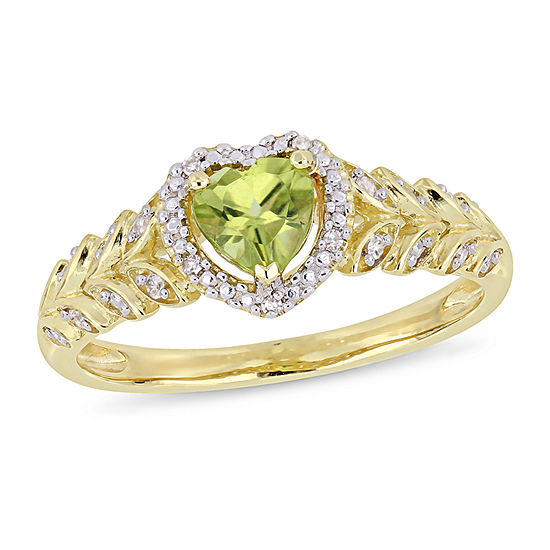 Womens Diamond Accent Genuine Green Peridot 10K Gold Heart Cocktail Ring