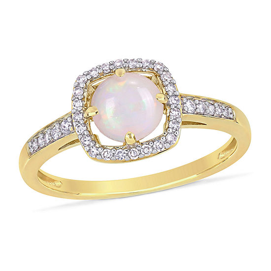 Womens 1/7 CT. T.W. Genuine White Opal 10K Gold Cocktail Ring