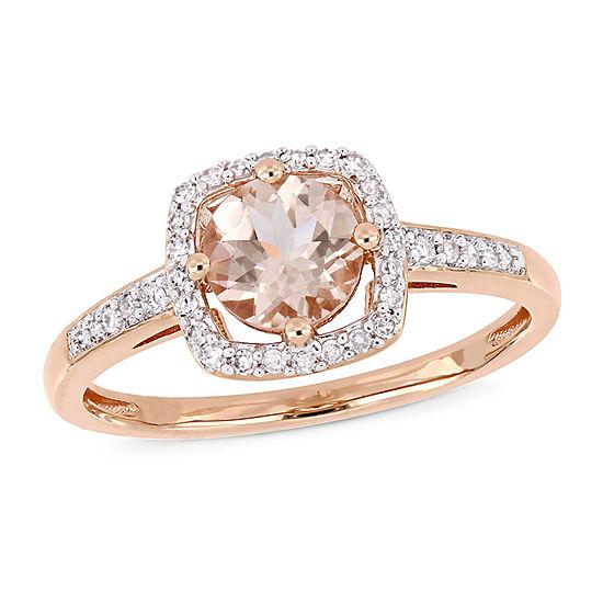 Womens 1/7 CT. T.W. Genuine Pink Morganite 10K Rose Gold Cocktail Ring