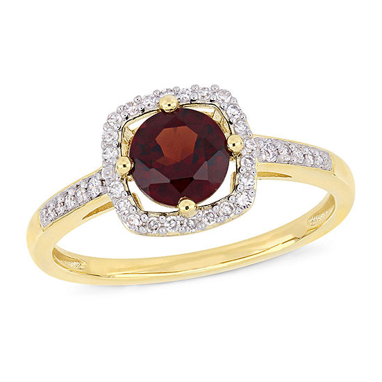 Womens 1/7 CT. T.W. Genuine Red Garnet 10K Gold Cocktail Ring