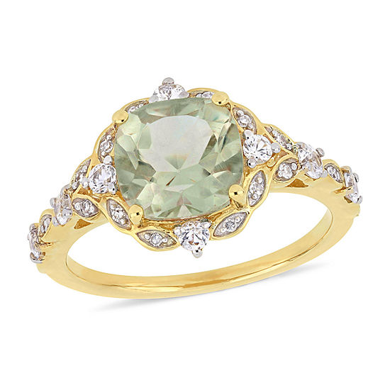 Womens Diamond Accent Genuine Green Amethyst 14K Gold Cocktail Ring