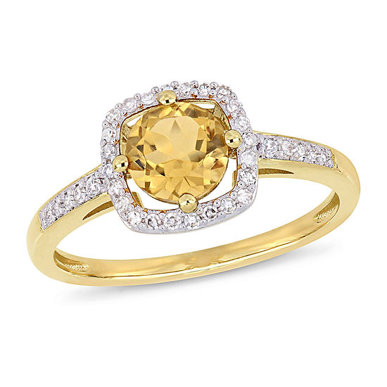 Womens 1/7 CT. T.W. Genuine Yellow Citrine 10K Gold Cocktail Ring