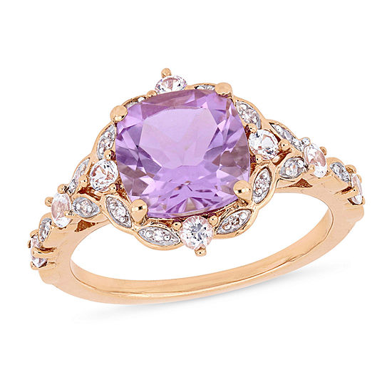 Womens Diamond Accent Genuine Purple Amethyst 14K Rose Gold Cocktail Ring