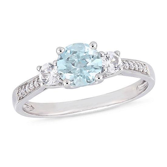 Womens Diamond Accent Genuine Blue Aquamarine 10K White Gold Cocktail Ring