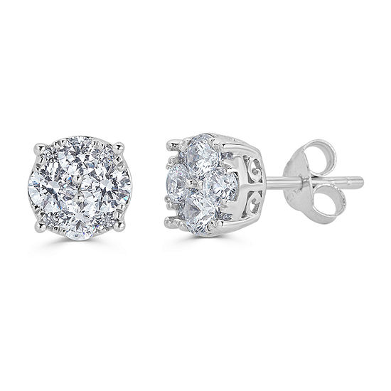 1 CT. T.W. Genuine White Diamond Sterling Silver 7.1mm Stud Earrings