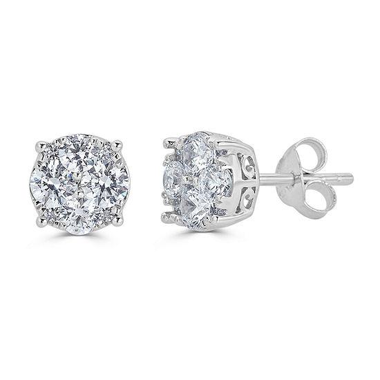 3/4 CT. T.W. Genuine White Diamond Sterling Silver 6.4mm Stud Earrings