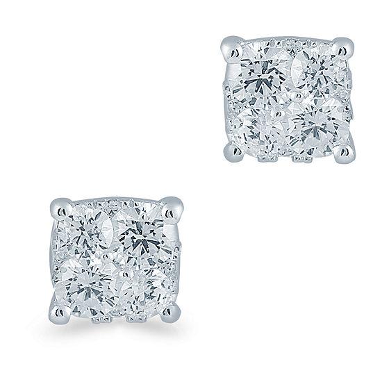 1/2 CT. T.W. Genuine White Diamond Sterling Silver 5.1mm Stud Earrings