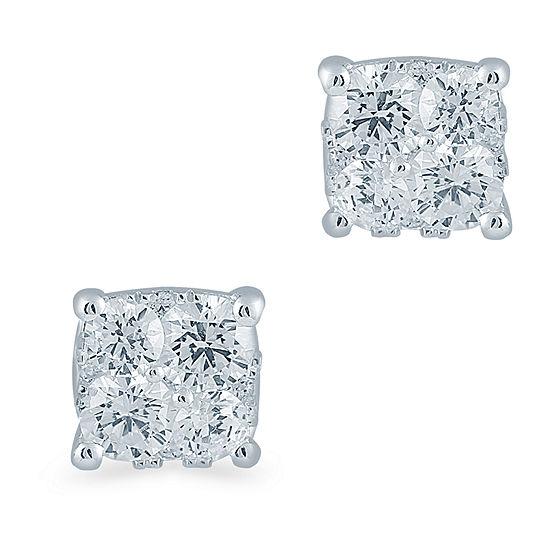 1/3 CT. T.W. Genuine White Diamond Sterling Silver 4.2mm Stud Earrings