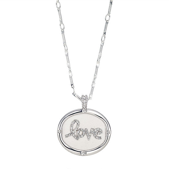 Footnotes Cubic Zirconia 18 Inch Link Oval Pendant Necklace