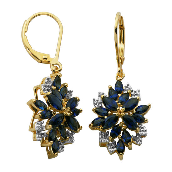 Lab Created Blue Sapphire 18K Gold Over Silver Drop Earrings