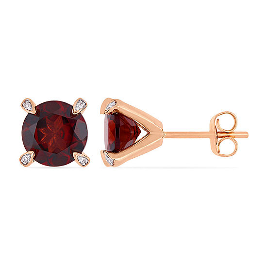 Diamond Accent Genuine Red Garnet 10K Rose Gold 8.5mm Stud Earrings