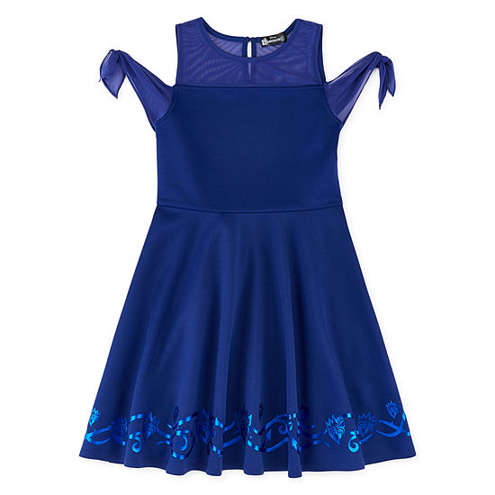 Descendants Short Sleeve Cold Shoulder Sleeve Skater Dress - Preschool / Big Kid Girls