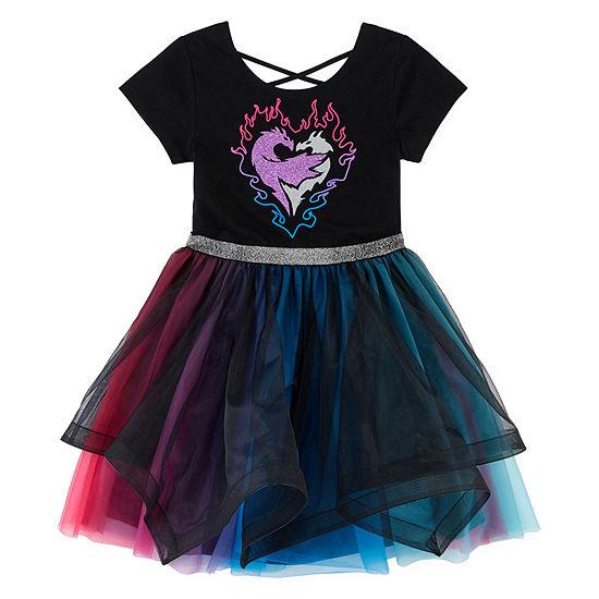 Descendants 3 Capsule Embellished Short Cap Sleeve Skater Dress - Preschool / Big Kid Girls