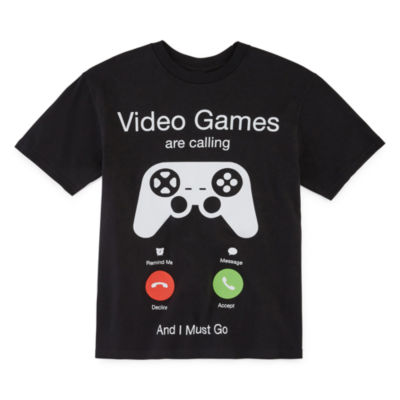 """Video Games Are Calling"" - Little Kid / Big Kid Boys Crew Neck Short Sleeve Graphic T-Shirt"