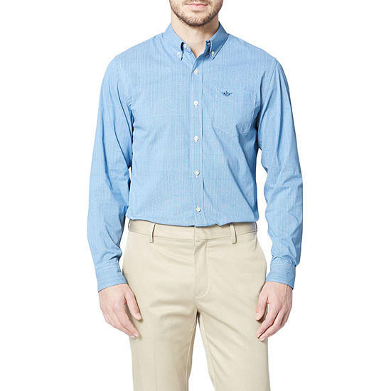 Dockers Comfort Flex Stretch Mens Long Sleeve Geometric Button-Down Shirt