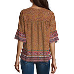 Artesia Womens V Neck 3/4 Sleeve Blouse