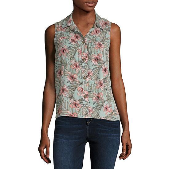 Wallflower Womens Sleeveless Button-Front Shirt-Juniors