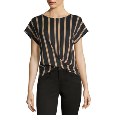 by&by Womens Crew Neck Short Sleeve Knit Blouse-Juniors