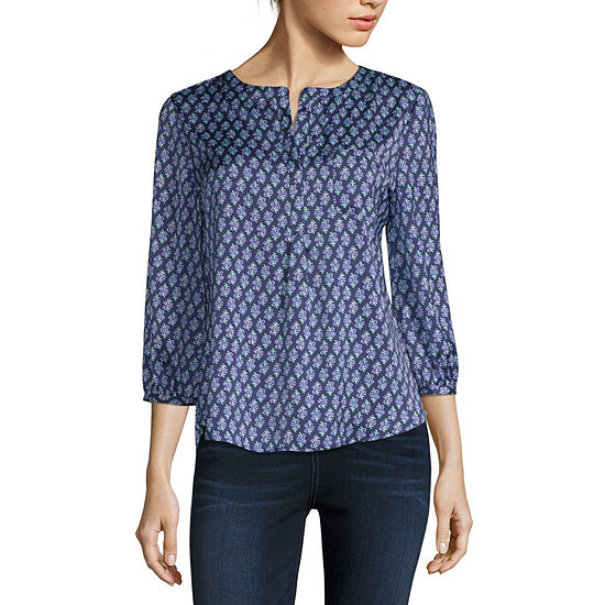 Liz Claiborne-Petite Womens Split Crew Neck 3/4 Sleeve Blouse