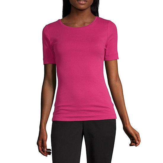 Worthington-Womens Round Neck Short Sleeve T-Shirt