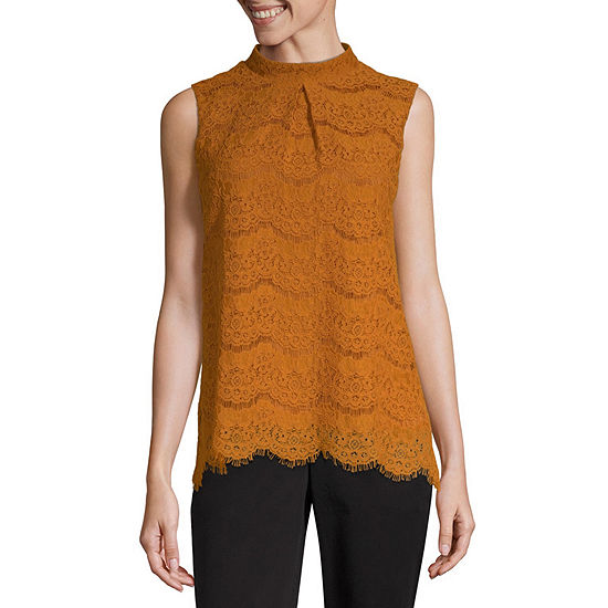 Worthington Lace Tank Womens Mock Neck Sleeveless Tank Top