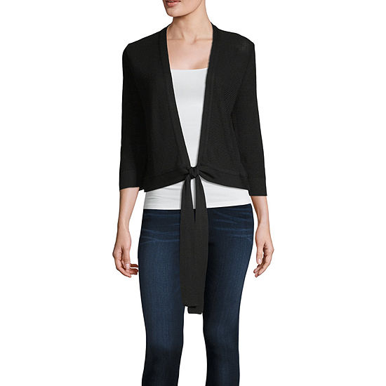 212 NY Womens 3/4 Sleeve Tie Cardigan