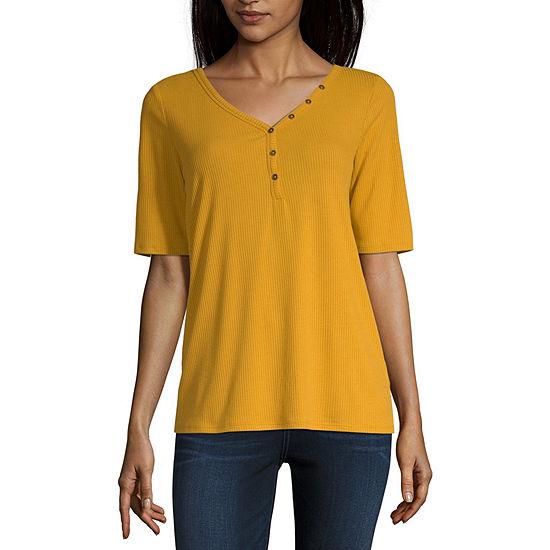 a.n.a-Womens Henley Neck Short Sleeve T-Shirt