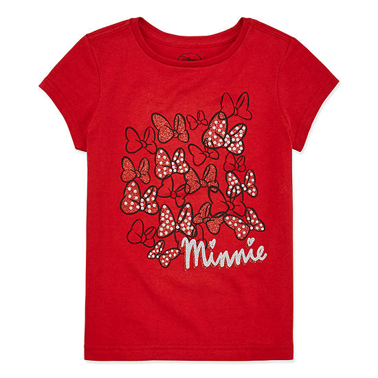 Disney Collection Girls Crew Neck Short Sleeve Minnie Mouse Graphic T-Shirt - Preschool / Big Kid