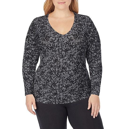 Cuddl Duds Softwear With Stretch Womens-Plus Pajama Top V Neck