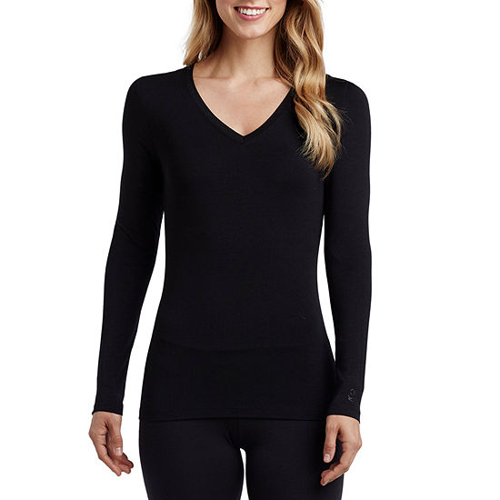 Cuddl Duds Softwear With Stretch Womens-Petite Pajama Top V Neck