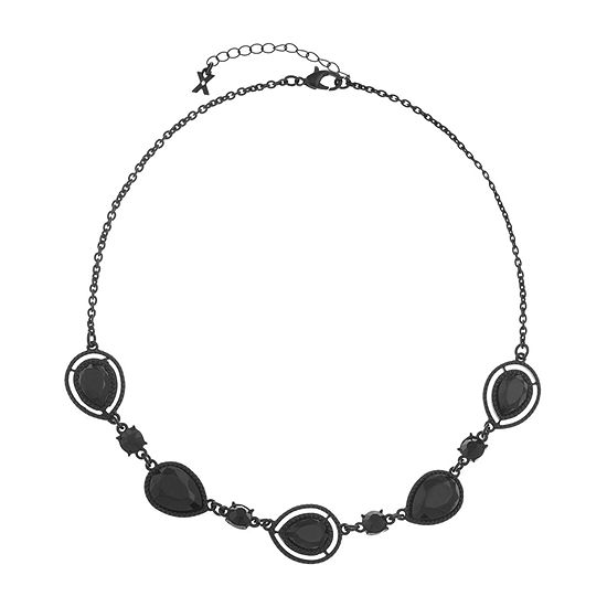 Mixit Black 17 Inch Cable Pear Collar Necklace