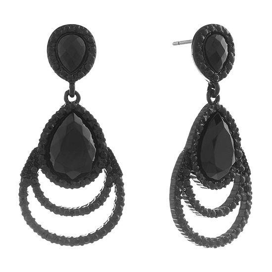 Mixit 1 Pair Black Pear Drop Earrings