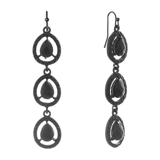 Mixit Black Pear Drop Earrings
