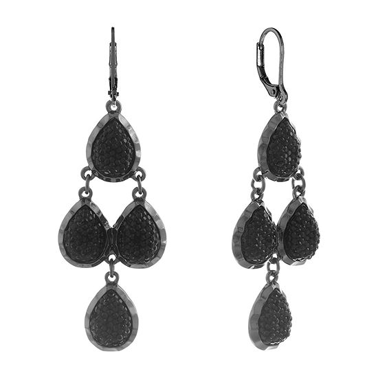 Mixit Simulated Black Chandelier Earrings