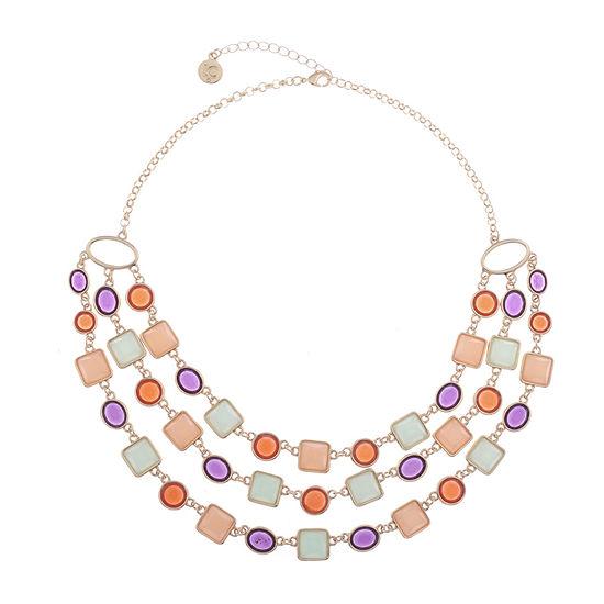 Liz Claiborne Multi Color 17 Inch Cable Square Statement Necklace