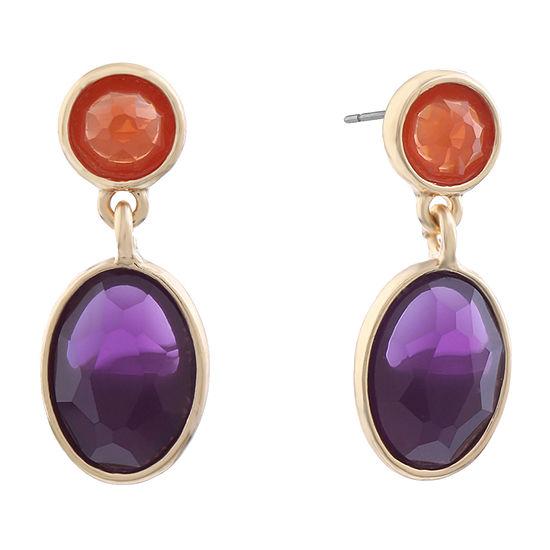 Liz Claiborne Simulated Multi Color Oval Drop Earrings