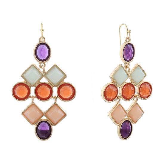 Liz Claiborne Simulated Multi Color Square Chandelier Earrings
