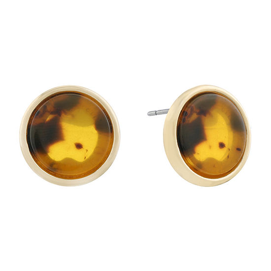 Monet Jewelry Brown 19mm Stud Earrings