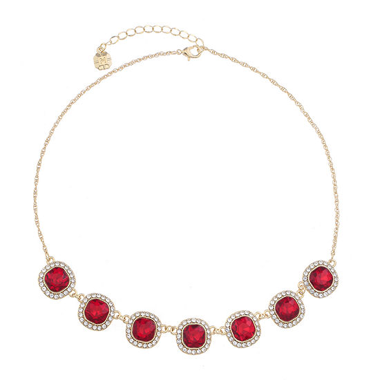 Monet Jewelry Red 17 Inch Rope Square Collar Necklace