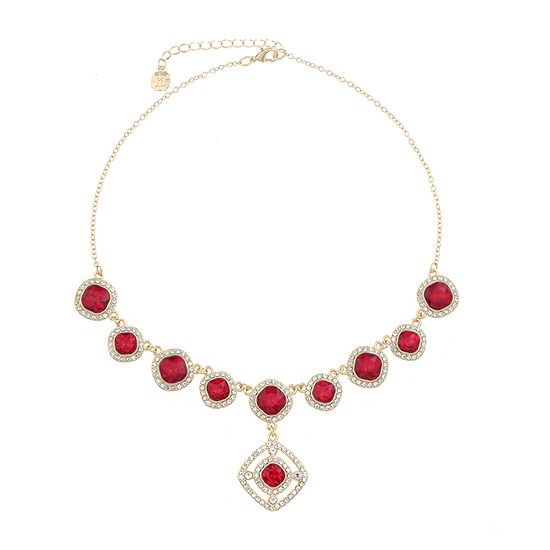 Monet Jewelry Red 17 Inch Cable Square Y Necklace