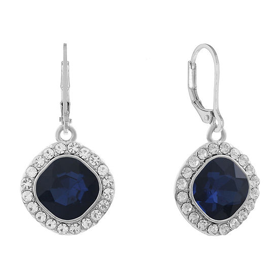 Monet Jewelry Simulated Blue Square Drop Earrings